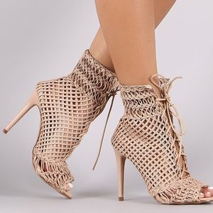 Shoes - Liliana Strappy Weaved Peep Toe Lace-Up Heel